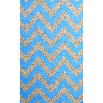 Moderno Designer Flat Weave Wool Rug in Blue/Natural - 160x230