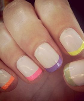Fun summer nails!: Nude Nails, Nails Art, Neon French, French Manicures, Nails Tips, Summer Nails, French Tips, Neon Nails, Colors French