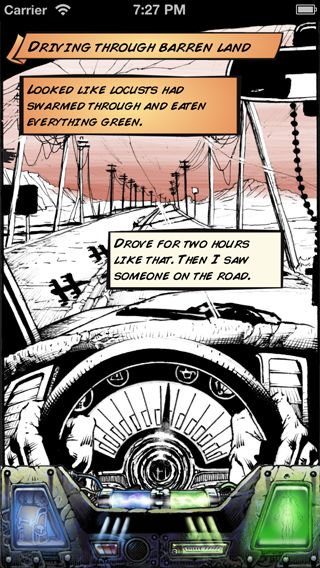 Comic art from the game. Driving through the wastes.