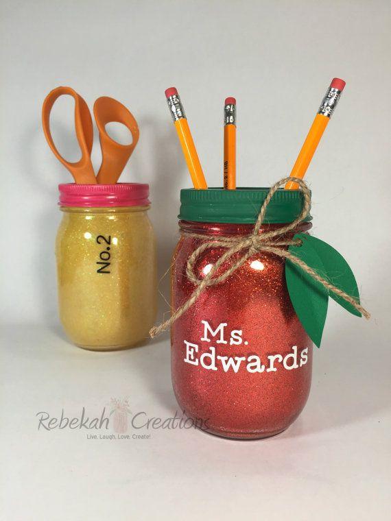 Glitter Apple Mason Jar Teacher Mason Jar by RebekahCreations