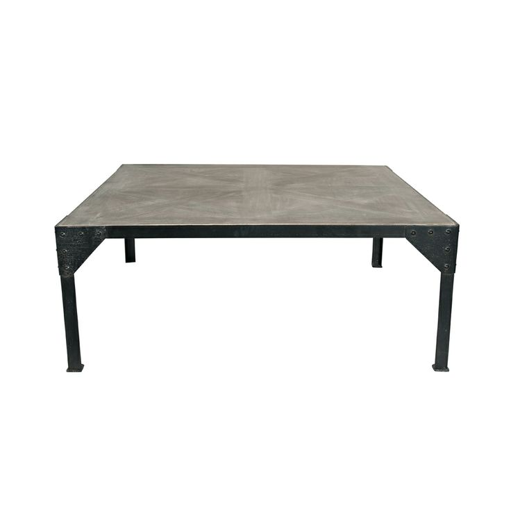 Industrially designed coffee table with painted metal frame and parquet styled top.