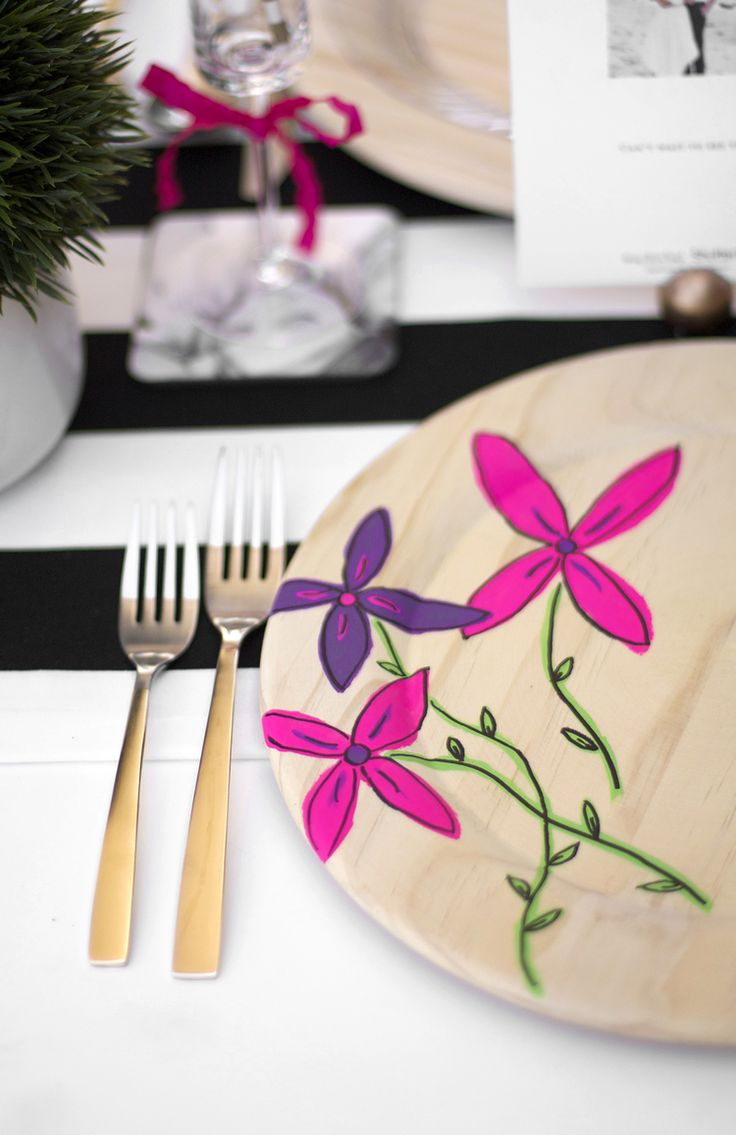 DIY Painted Floral Plate Chargers