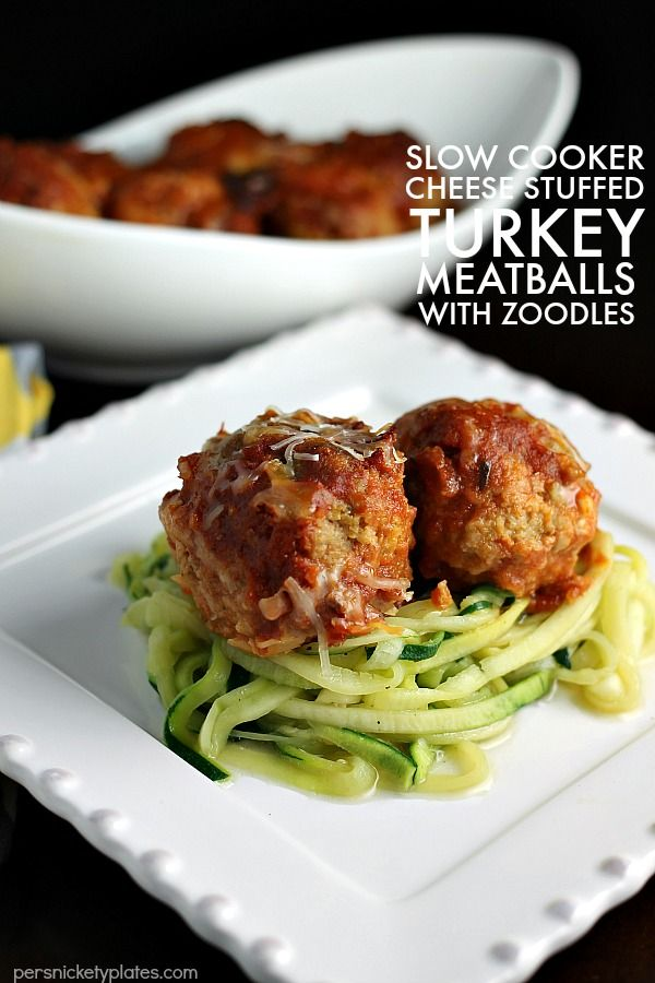Slow Cooker Cheese Stuffed Turkey Meatballs with Zoodles is an easy and healthy meal that you don't have to feel guilty about!