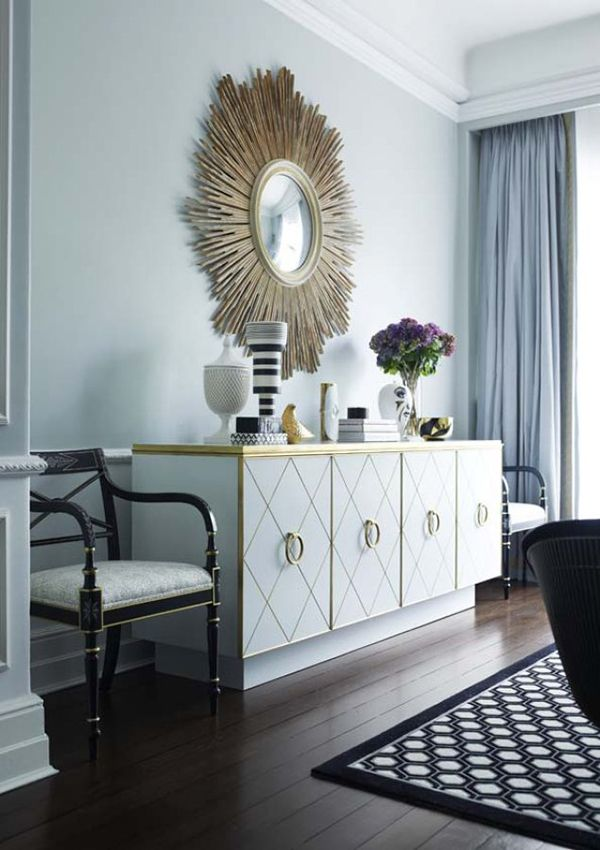 White and gold sideboard with a sunburst