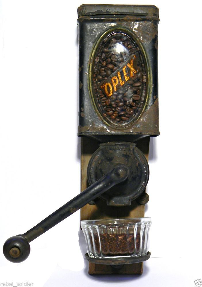 1899 Oplex Coffee Grinder Tin Litho Wall Mount Can Burr