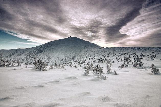 Fot. Piotr TrachtaŚnieżka w zimowej szacie - widok z okolic Kopy