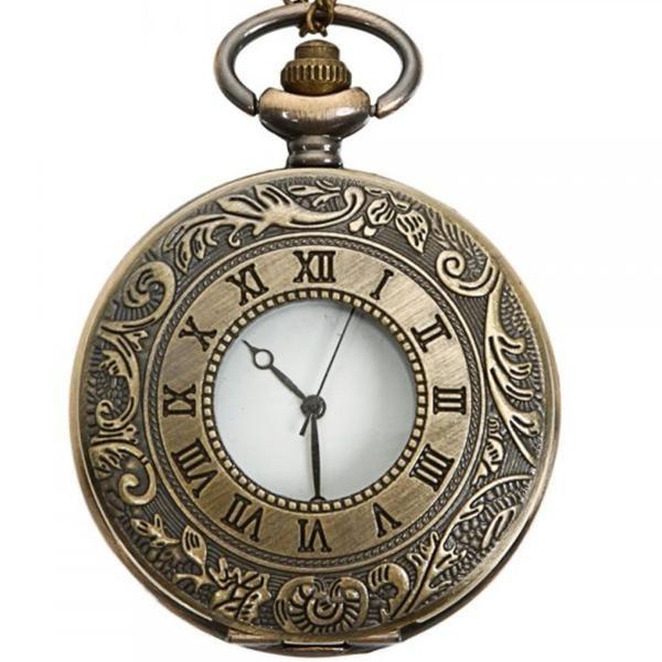 Vintage Bronze Antique Roman Numbers Quartz Pocket Watch