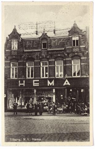 1930, HEMA (Hollandsche Eenheidsprijzen Maatschappij Amsterdam). Naam in pannendak. Lichtreclame: 'Philips lampen kosten niets'. De foto is genomen tijdens de 'huishoudweek'actie.