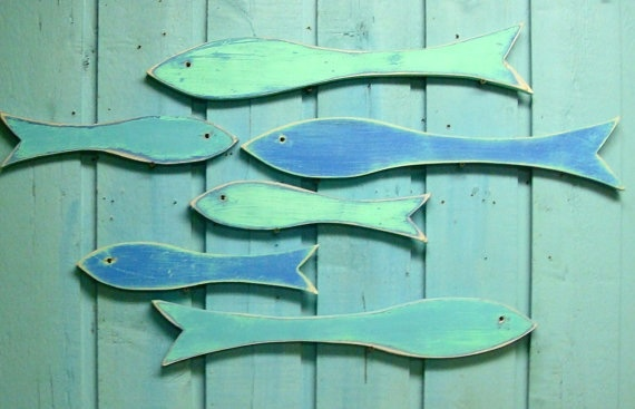 School of fish by www.CastawaysHall.etsy.com. Imagine a whole wall of these at the lake house.