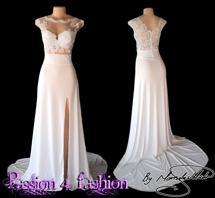 White lace matric dance dress. Bodice in lace with a jewel front neckline and a V back. Back has covered buttons and a flowy skirt. A slit and a long train.