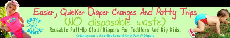 Antsy Pants Reusable Pull-Up Cloth Diapers For Your Toddler Or Big Kid Easier, Quicker Diaper Changes And Potty Trips - reviewed 'great for toddlers who don't want a diaper change' w/DDL - unique side pocket