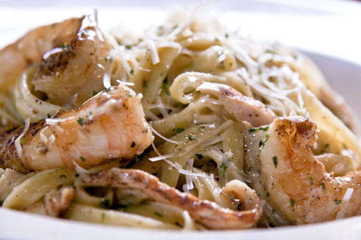 No Rules Pasta  Fetuccine with our homemade parmesan cream sauce.Tossed with your choice of succulent grilled shrimp or flame-grilled chicken breast or have both!