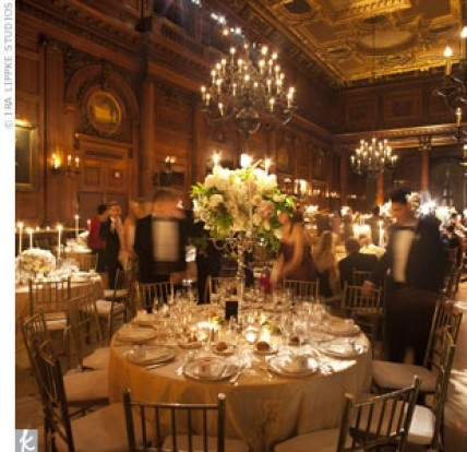 A glamorous ballroom is the perfect setting for a #blacktie #wedding.Floral Centerpieces, White Flower, White Rose, Receptions Lights, Receptions Ideas, Wedding Reception, Romantic Receptions, Purple Flower, Reception Lighting