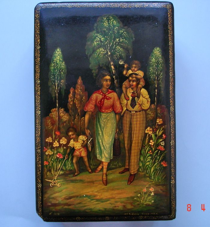 "Author: Vakurov I. Description:     Theme: ""In The Soviet Park""     Shape: box     Size in cm: 12x8x3     Year: 1939"