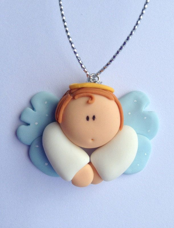 Sweet Angel Figurine Ornament Baptism Favor by LuckyTrinket on Etsy. so cute!  I would probably use some glow in the dark clay for the wings.