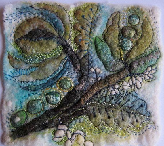 Small textile art piece by JackieCardytextiles on Etsy, $60.00