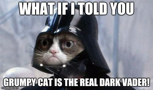Grumpy Cat Star Wars | WHAT IF I TOLD YOU GRUMPY CAT IS THE REAL DARK VADER! | image tagged in memes,grumpy cat star wars,grumpy cat | made w/ Imgflip meme maker
