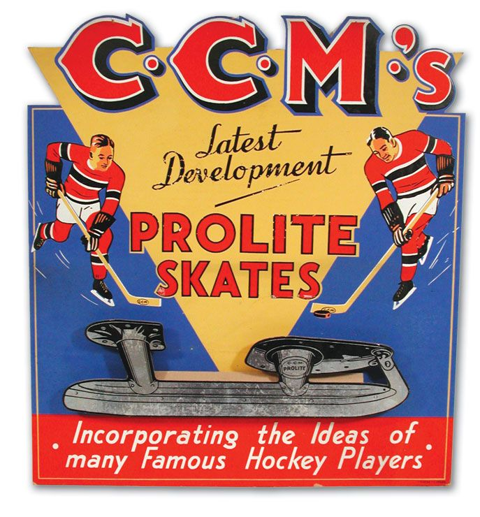 Circa 1930's CCM Skates Advertising Sign