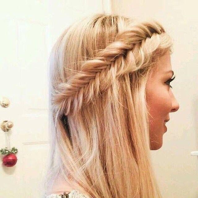 Semirecogido con Trenza  #peinados #trenzas #peinadoscontrenzas #trenzadeespiga…