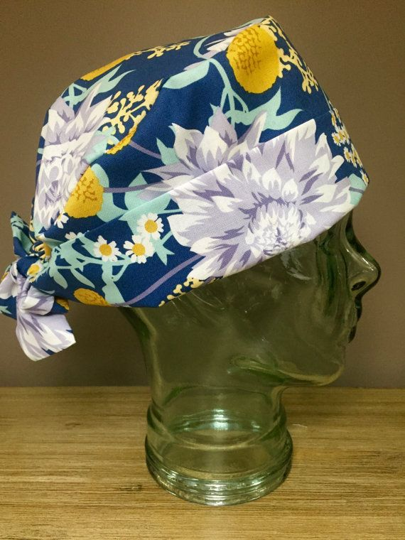 Custom Caps Company Navy with Grey & Yellow Flowers Scrub Cap, Beautiful Dalhia Women's Surgical Scrub Cap, Pixie Tie Back Hat