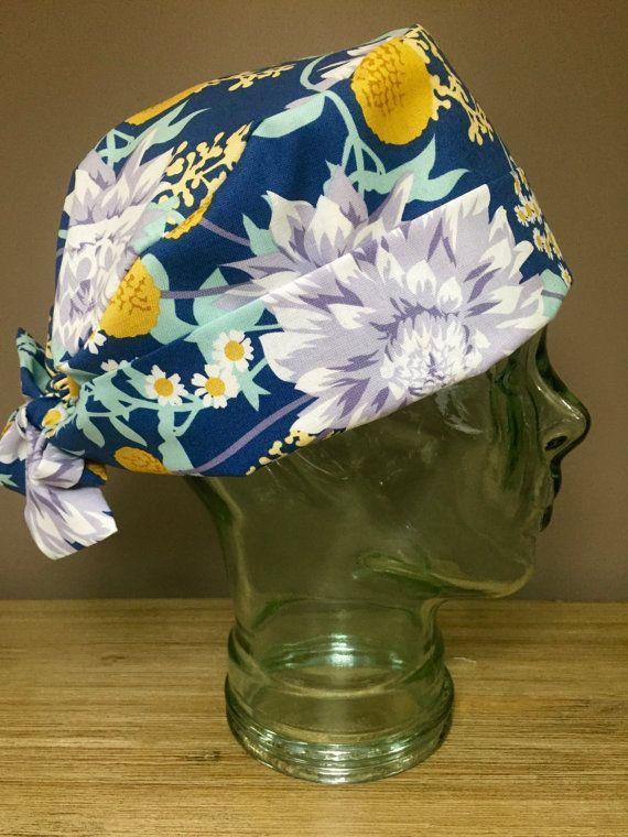 Custom Caps Company Navy with Grey & Yellow Flowers Scrub Cap, Beautiful Dalhia Women's Surgical Scrub Cap, Pixie Tie Back Hat