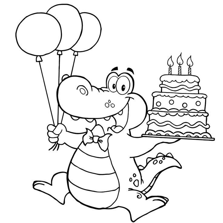 vrolijke krokodil met slagroomtaart en ballonnen