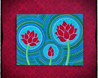 Familie van drie-lotusbloem kunst briefkaart voor meditatie