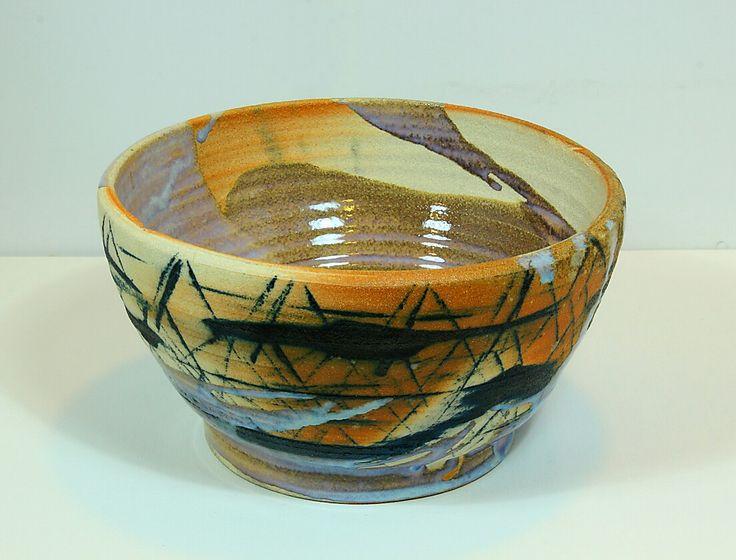 Pirjo Lautiainen, wheel thrown and anagama fired bowl, blue chun glaze, 2016
