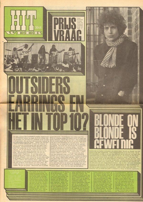 HITWEEK 1966 51 Bob Dylan OUTSIDERS Rock In 64 SITAR Beatles Harrison CLUNGELS