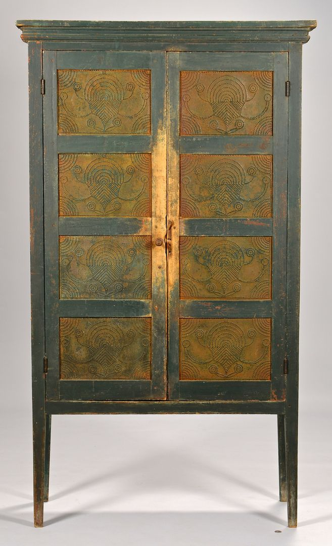 Southwest Virginia dark green painted pie safe of vertical form.  Rectangular top with simple stepped cornice over an ogee molding, above two  long d… - Southwest Virginia Dark Green Painted Pie Safe Of Vertical Form