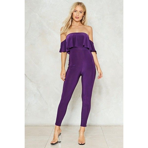 Nasty Gal Jump Start Off-the-Shoulder Jumpsuit ($40) ❤ liked on Polyvore featuring jumpsuits, purple, off shoulder jumpsuit, purple jumpsuit, nasty gal, off shoulder ruffle jumpsuit and stretch jumpsuit