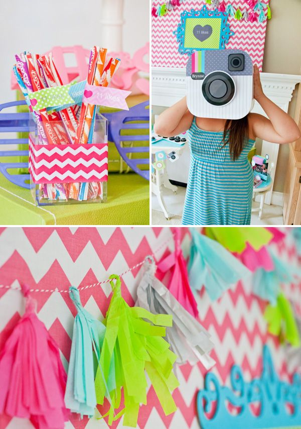 Cute & Clever Instagram Birthday Party @Heather Creswell Edwards.com decor & activities!