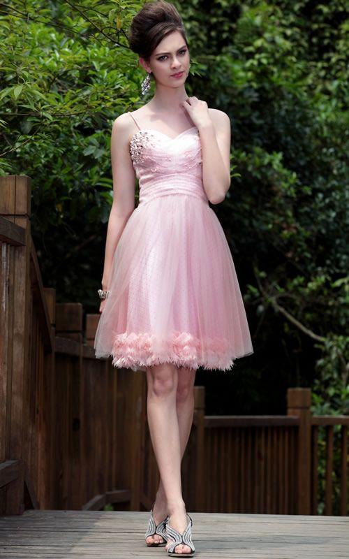 Knee Length Spaghetti Strap Peach bridesmaid dresses UK - £119.99 :
