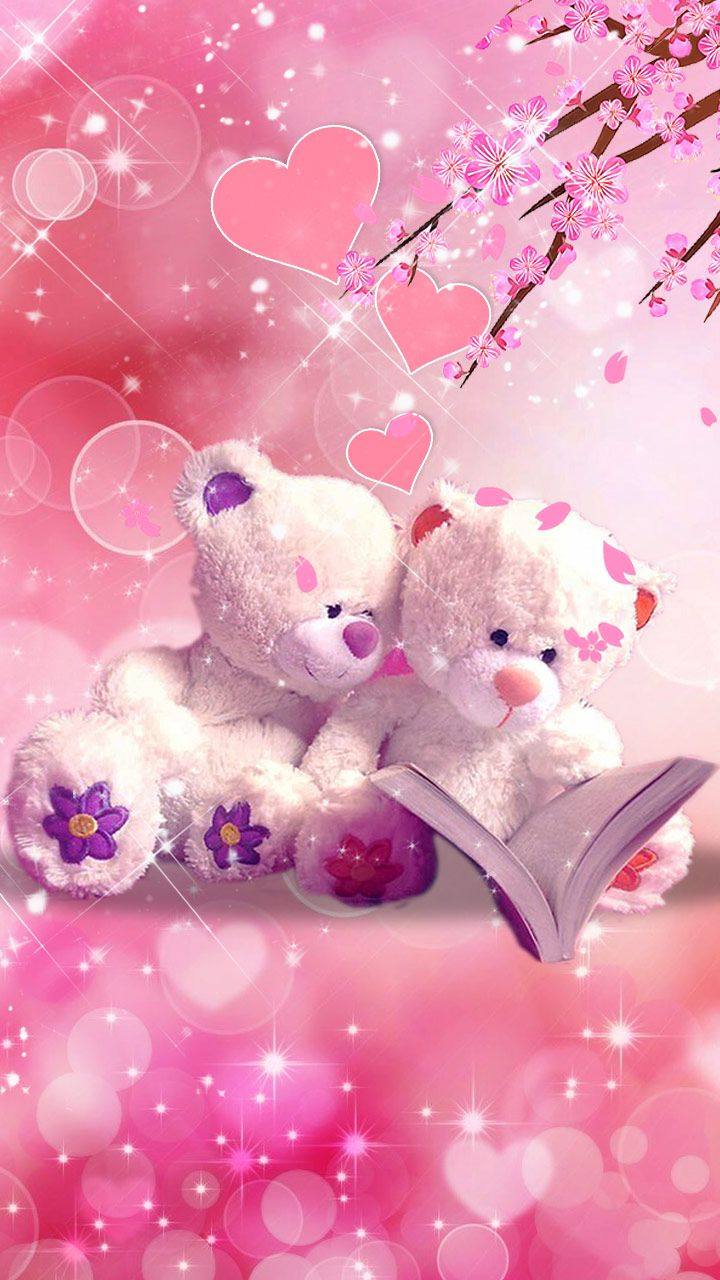 Cuddly Teddies Love Ted Teddy Pink Teddy Bear Wallpaper
