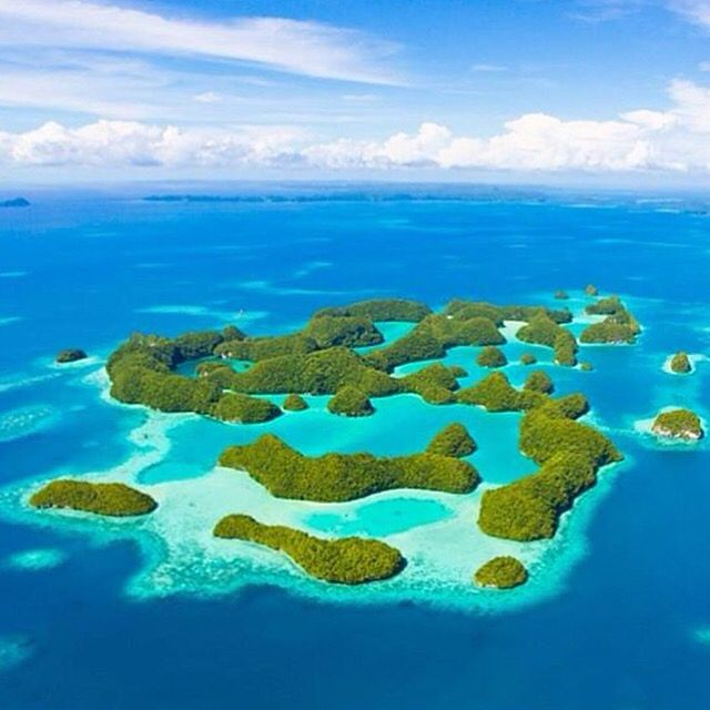 Beautiful clear water aerial phot of Palau islands