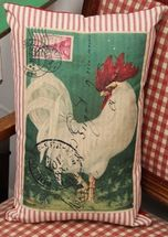 Tall Red Ticking Rooster Pillow
