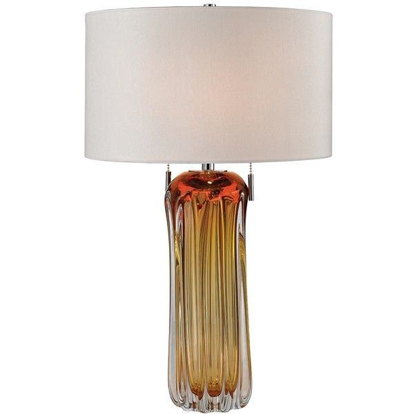 Dimond Ferrara Amber Free Blown Glass Table Lamp ($398) ❤ liked on Polyvore featuring home, lighting, table lamps, orange, glass lighting, orange lamp, amber lamp, amber table lamp and orange table lamp