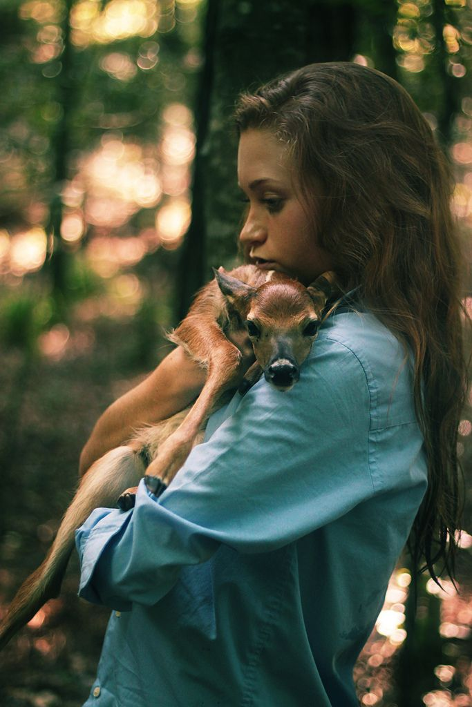 """""""There's deer here?"""" Chloe reached down, picked up and cradled the fawn who had come up to her, completely unafraid."""
