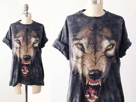 Vintage 90s WOLF Tshirt   Graphic Tee  Animal by BobcatVintage