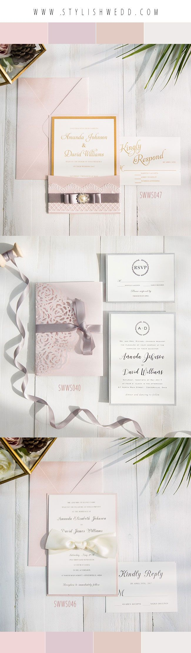 StylishWedd Romantic Mauve Blush Ribbon Wedding Invitations