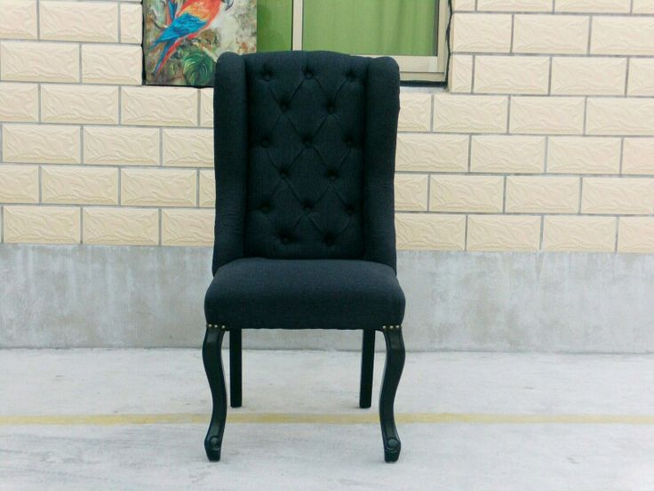 Black Tufted Linen Wing Back Fabric Dining Chair  $350