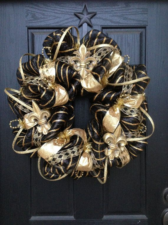 ELEGANT BLACK and GOLD mesh Wreath by GlitzyWreaths on Etsy, $85.00