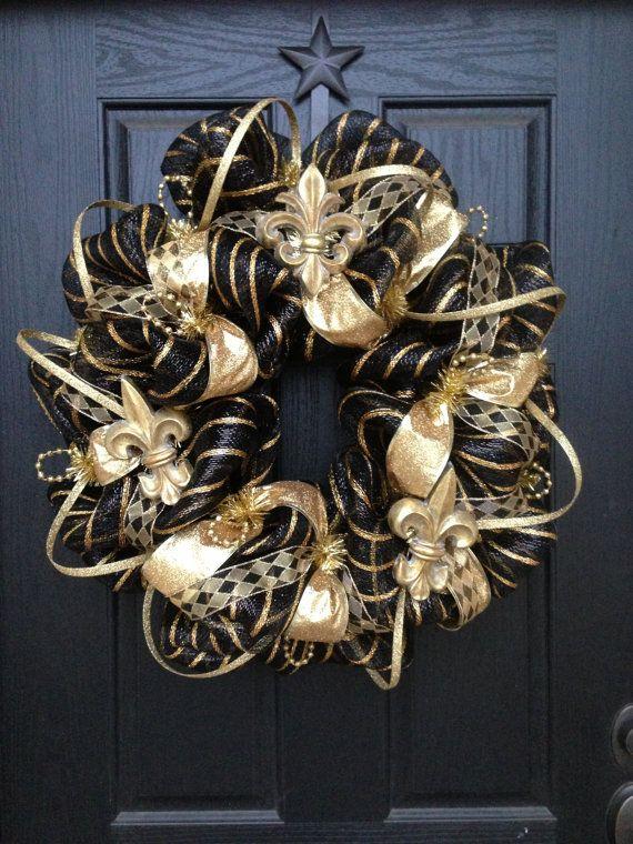 ELEGANT BLACK and GOLD mesh Wreath by GlitzyWreaths on Etsy, $85.00