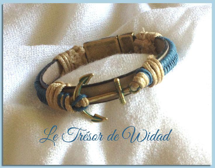 Bracelet homme style marin, ancre patinée bronze/vert, lacet cuir beige, fil coton ciré bleu ardoise, : Bracelet par le-tresor-de-widad
