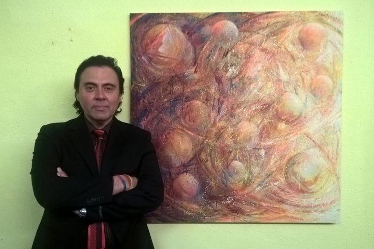 MASSIMO PARACCHINI CON L'OPERA CHE HA VINTO IL PREMIO INTERNAZIONALE GALILEO GALILEI A PISA.