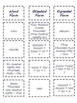 Free Place Value Large Numbers Cut and Paste Activity #expandedform #freebies #math #numberandoperationsinbaseten #placevalue #standardform #visualrepresentation #wordform