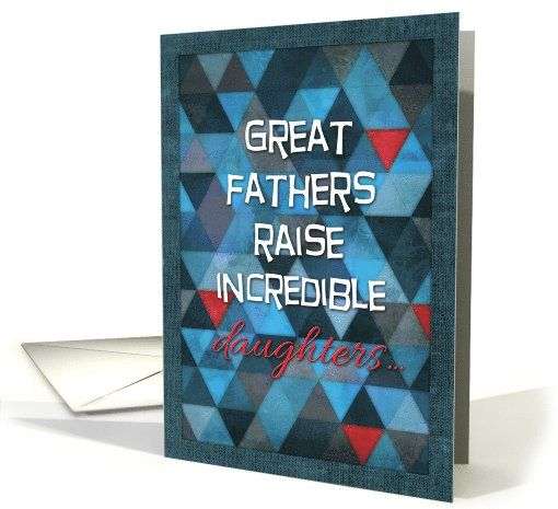 Happy Father's Day, from daughter, humor, blue, red, triangle pattern card