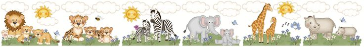 Jungle Zoo Animals Wall Border Decals Baby Girl Nursery Kids Room Decor - Lions, Tigers, Zebras, Elephants, Giraffes, and Hippos. #decampstudios www.decampstudios.com