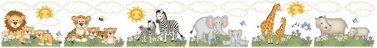 Jungle Zoo Animals Wall Border Decals Baby Girl Nursery Kids Room Decor - Lions, Tigers, Zebras, Elephants, Giraffes, and Hippos. #decampstudios www.decampstudios.com