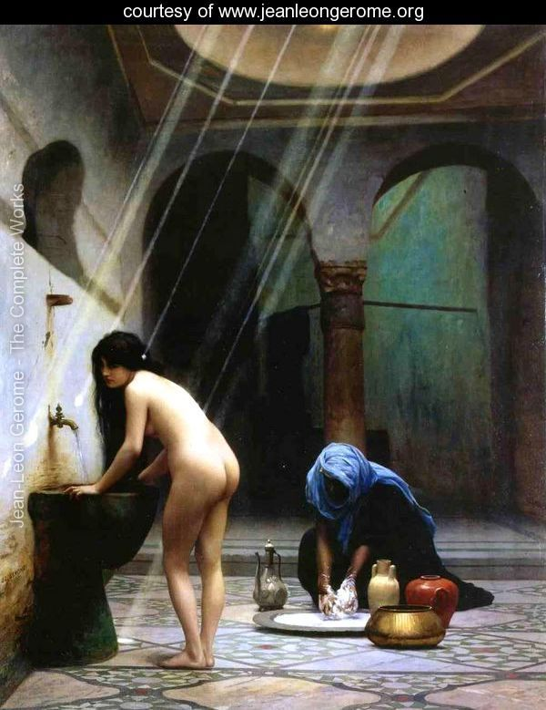 A Moorish Bath   Turkish Woman Bathing No 2 - Jean-Léon Gérôme - www.jeanleongerome.org